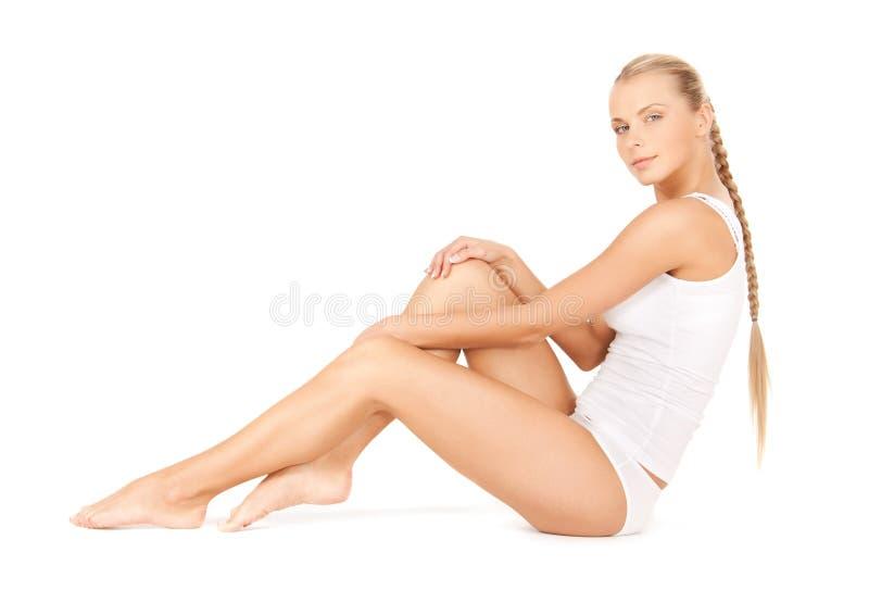 Piękna kobieta w bawełnianym undrewear fotografia stock