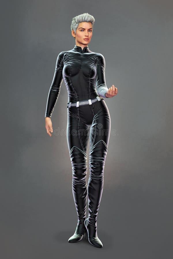 Piękna kobieta w czarnym bodysuit w miastowej fantazja stylu mage pozie ilustracji