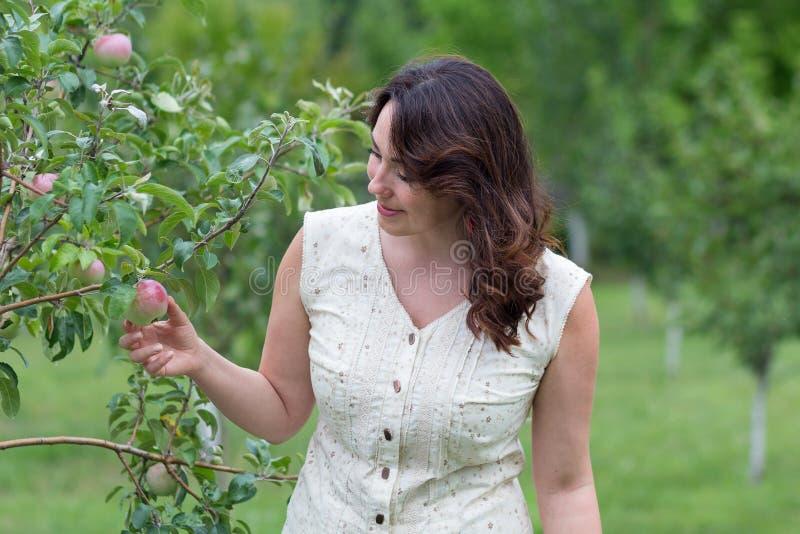 Piękna kobieta w jabłczanym sadzie fotografia royalty free