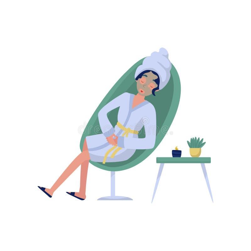 Piękna kobieta w kosmetycznej masce, relaks, skincare, wellness przy piękno salonu wektorową ilustracją na bielu royalty ilustracja