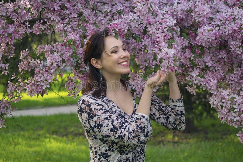 Piękna kobieta w ogródzie wśród bzów fotografia stock