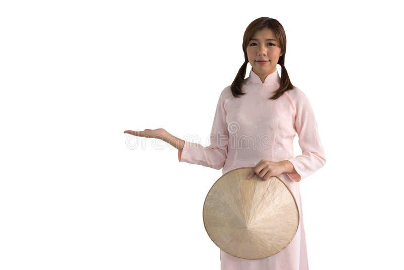Piękna kobieta w różowej Wietnam Tradycyjnej sukni Smokingowy cultu obrazy royalty free