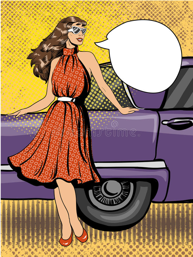 Piękna kobieta w suknia pobycie obok samochodu Komiczna wektorowa ilustracja w wystrzał sztuki retro stylu ilustracja wektor