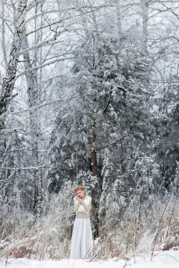 Piękna kobieta w zima lesie obrazy royalty free