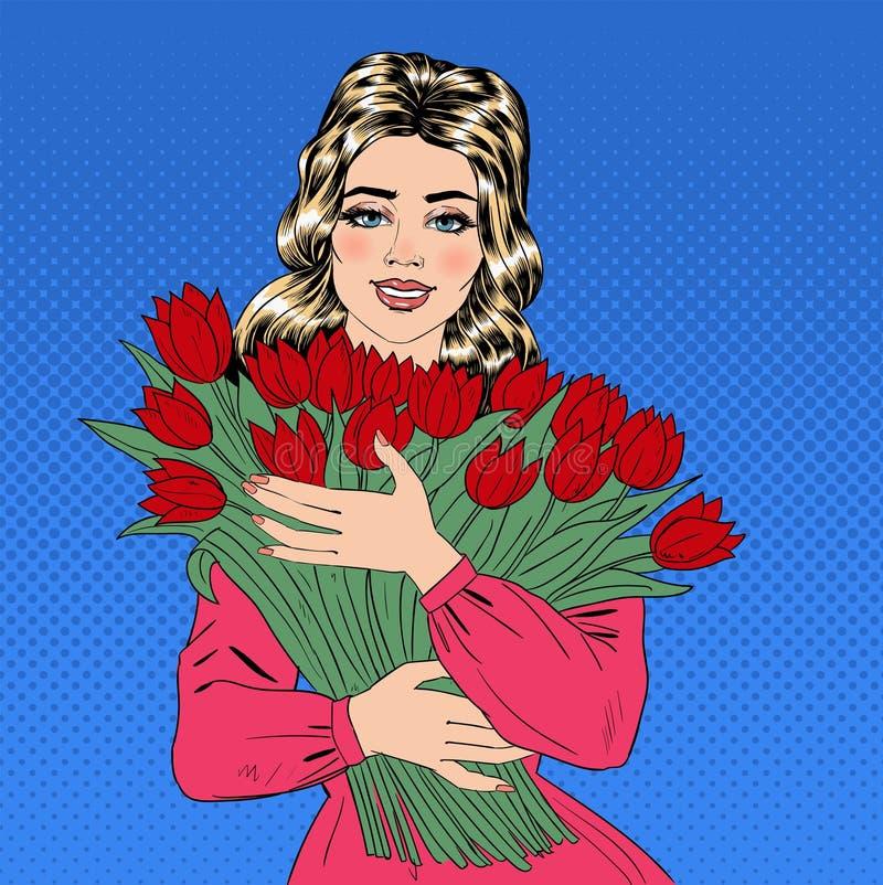 Piękna kobieta z bukietem Czerwoni tulipany ilustracja wektor