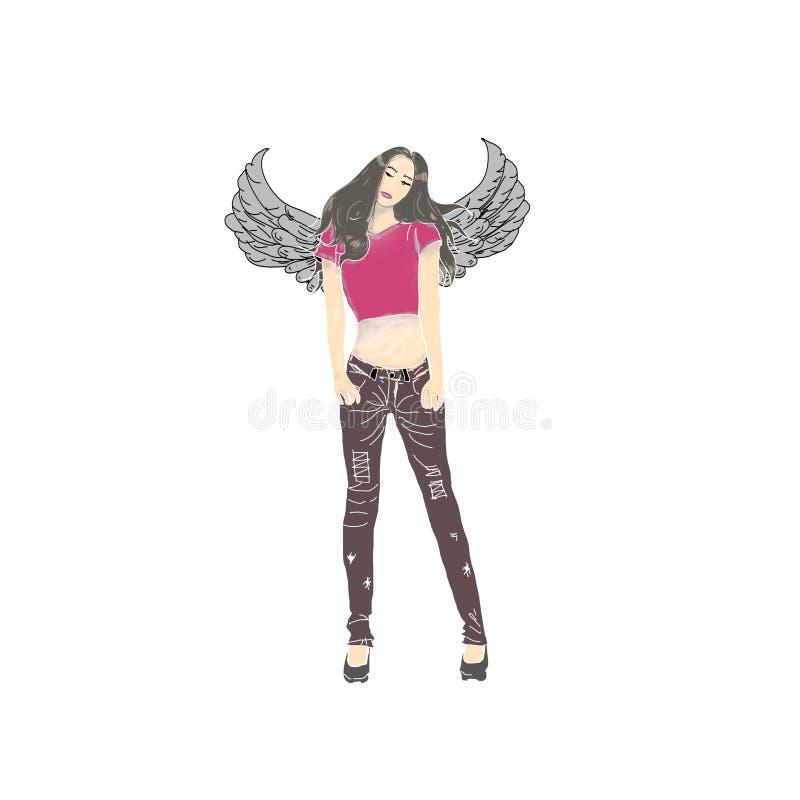 Piękna kobieta z czarnymi skrzydłami obraz royalty free