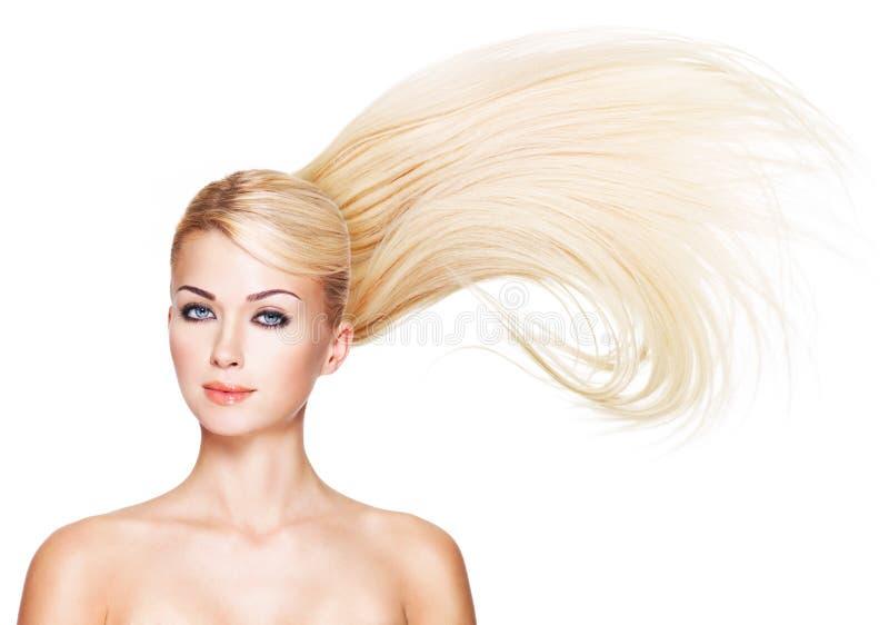 Piękna kobieta z długim białym włosy. obrazy stock