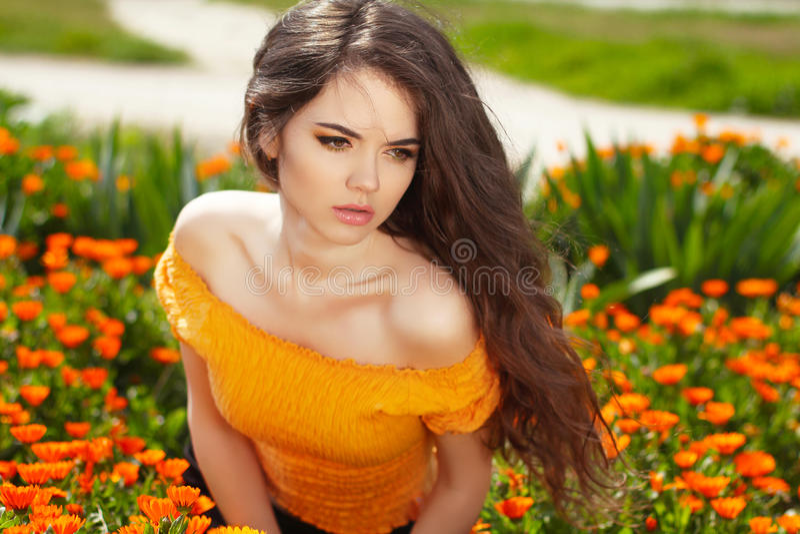 Piękna kobieta z długim brown włosy nad kwiatu polem. Zbliżenie obrazy stock