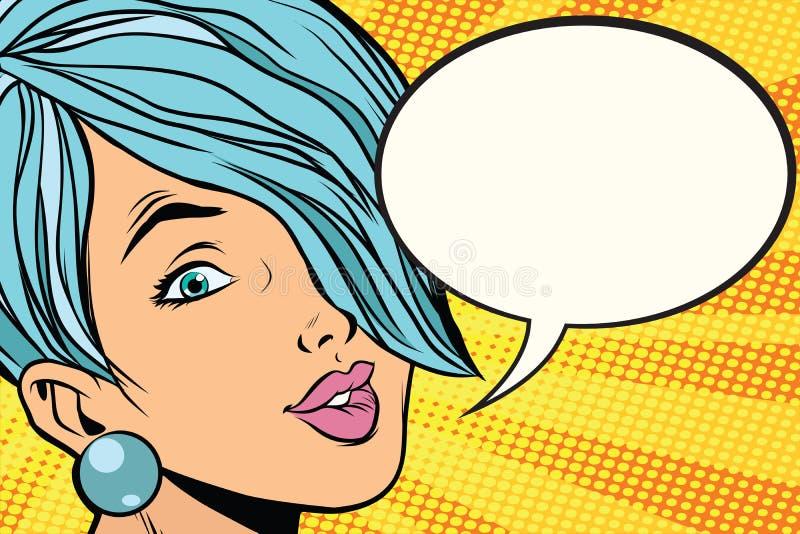 Piękna kobieta z krótkim włosy, komiczny bąbel ilustracji