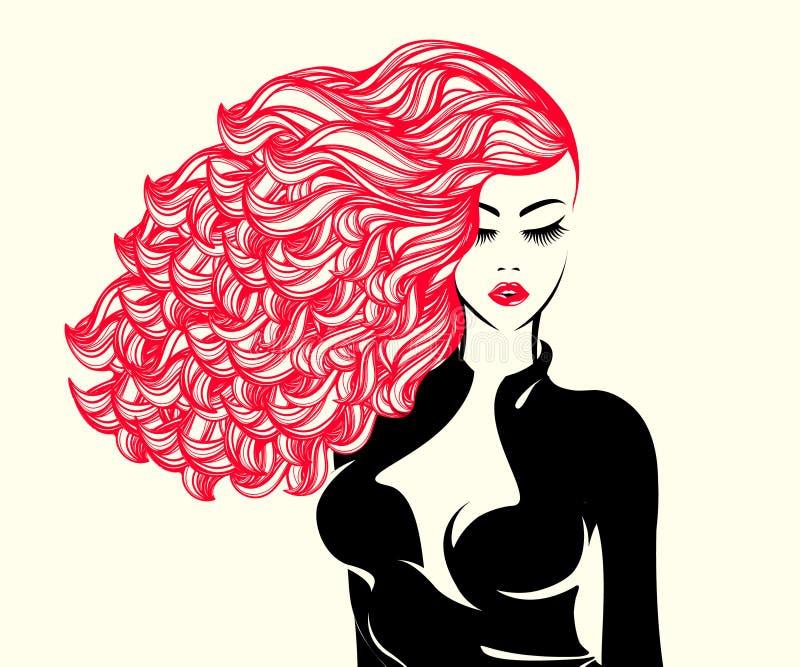 Piękna kobieta z spływaniem w wiatrze i śmiałym makeup długiego, kędzierzawego, royalty ilustracja
