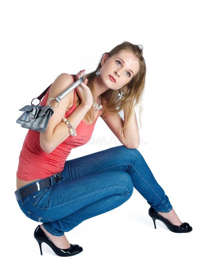 Piękna kobieta z torbą zdjęcia stock
