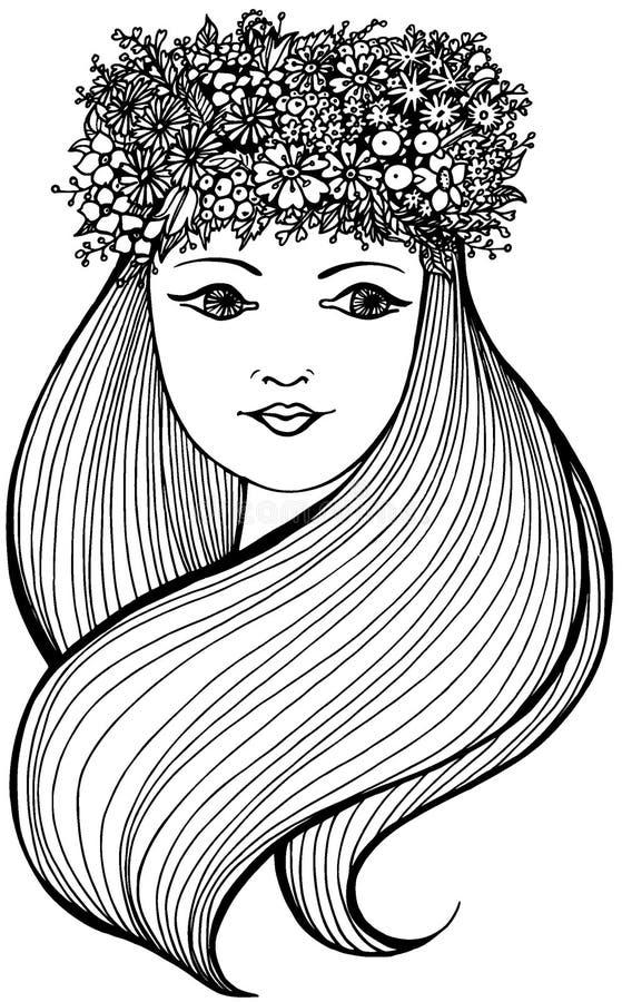 Piękna kobieta z wiankiem pełno z falisty długie włosy i kwiaty, owoc i jagody, ilustracji