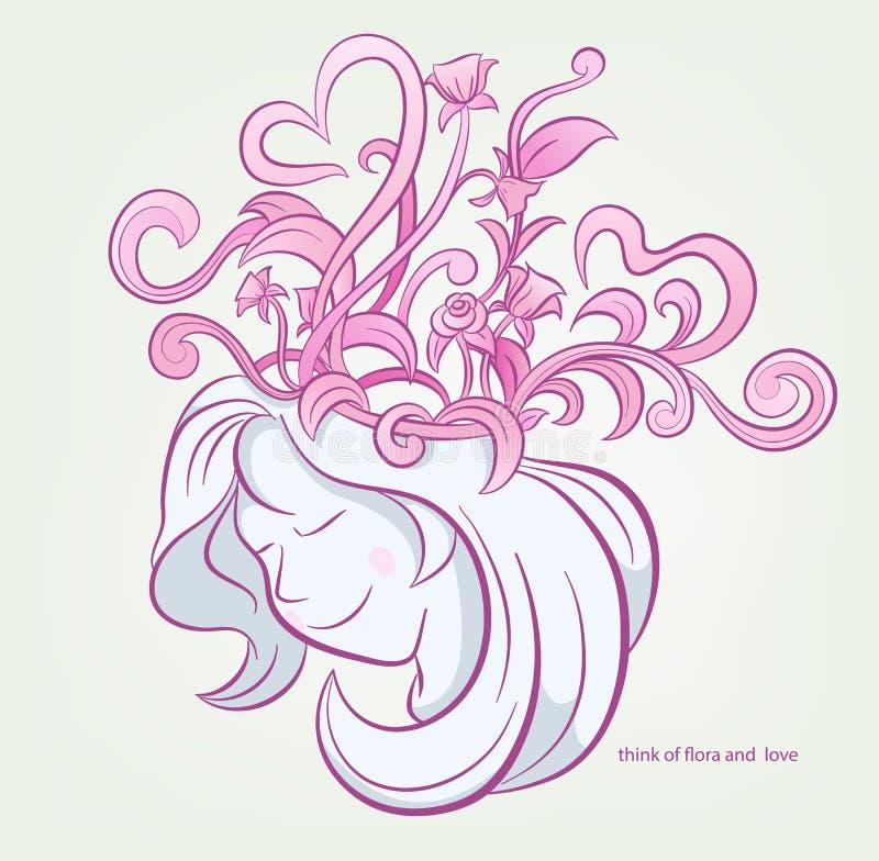 Piękna kobiety myśl z kwiatami i sercem, czereśniowy okwitnięcie, róże Różowy tło wektor royalty ilustracja
