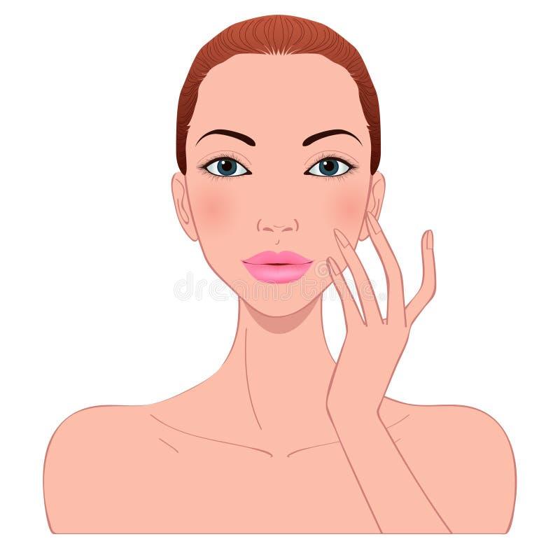 Piękna kobiety skóry opieka ilustracja wektor