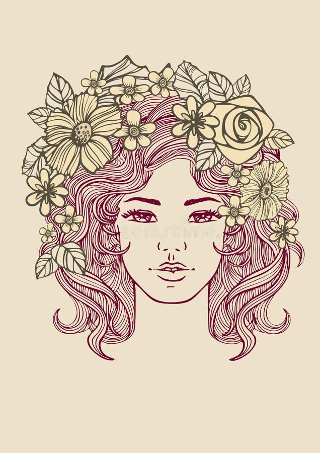 Piękna kobiety twarz i kwiecisty wzór Wektorowi doodle kwiaty ilustracja wektor