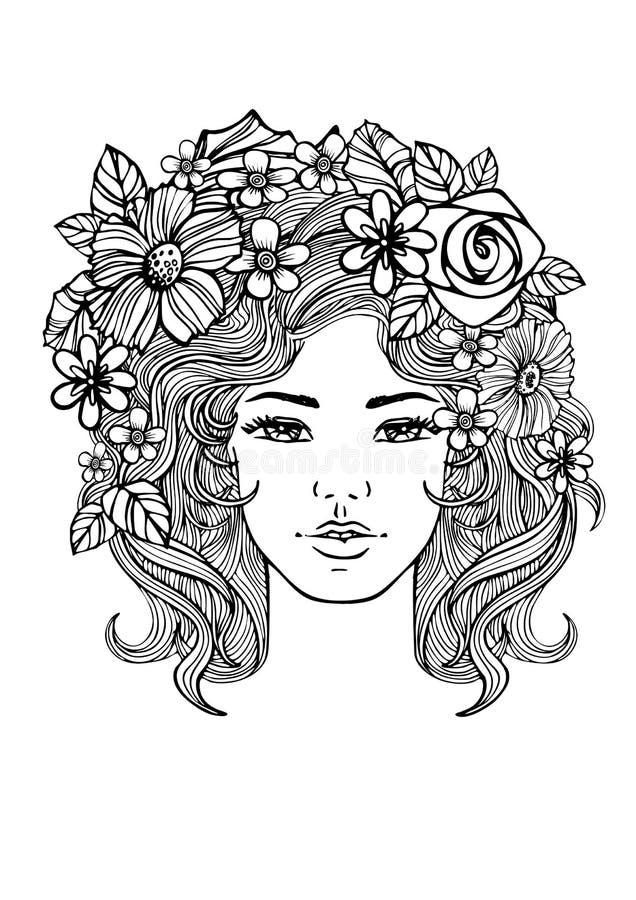 Piękna kobiety twarz i kwiecisty wzór Wektorowi doodle kwiaty czarny white ilustracja wektor
