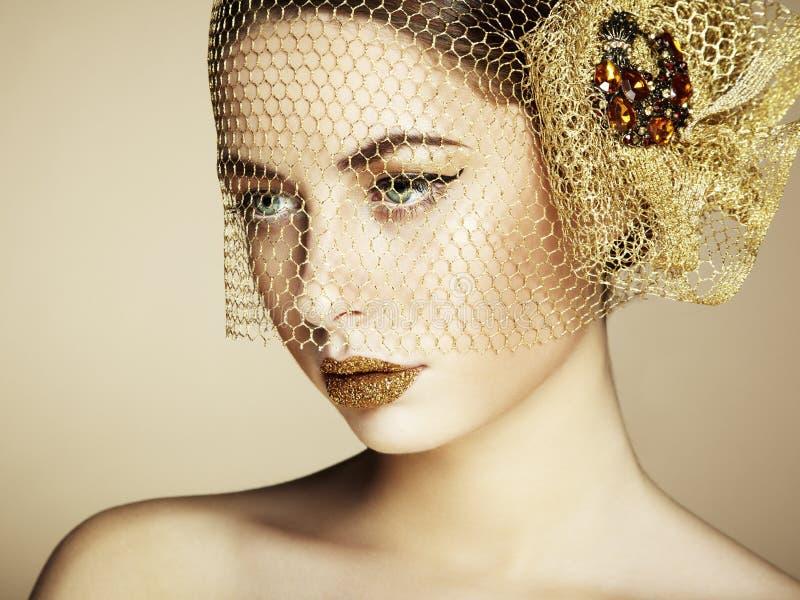 Piękna kobiety twarz. Perfect makeup fotografia royalty free
