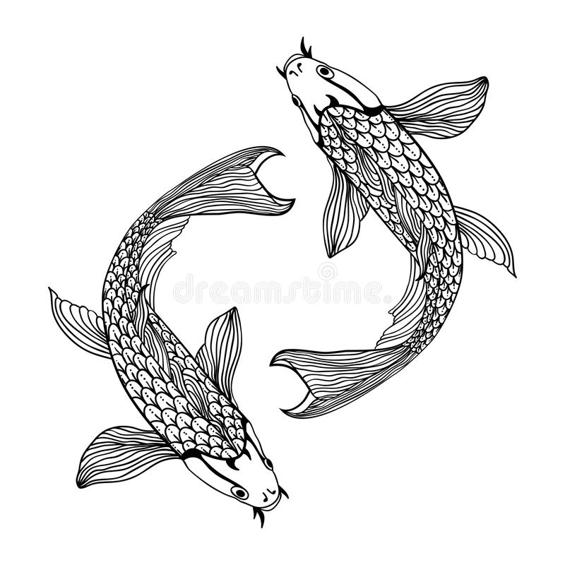 Piękna koja karpia ryba ilustracja w monochromu Symbol miłość, przyjaźń i dobrobyt, ilustracja wektor