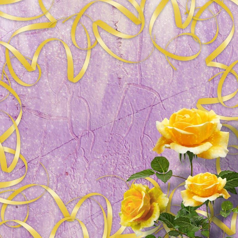 Piękna kolor żółty róża z zielenią opuszcza na tle royalty ilustracja