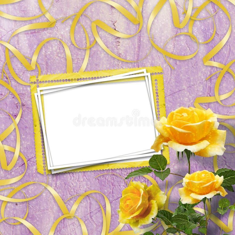 Piękna kolor żółty róża z zielenią opuszcza na tle ilustracja wektor