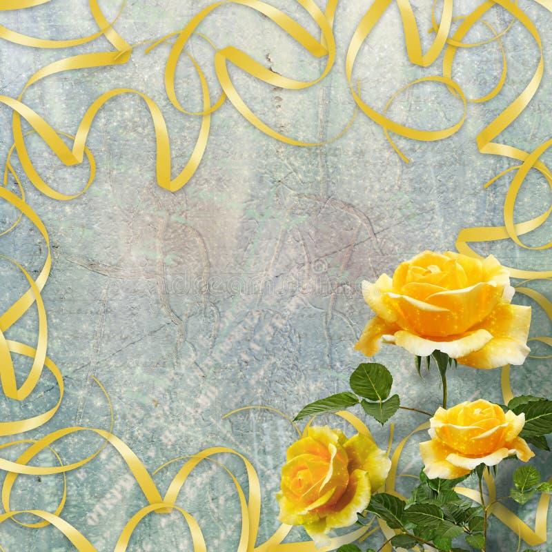 Piękna kolor żółty róża z zielenią opuszcza na tle ilustracji