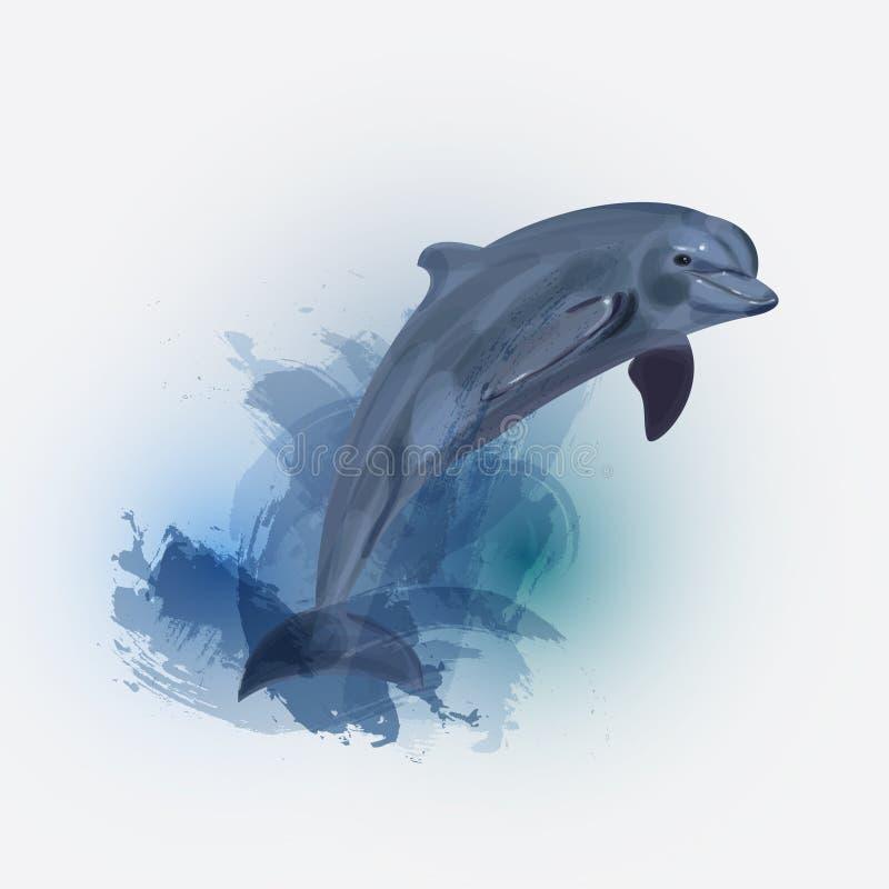 Piękna kolorowa atrament plama, delfin i royalty ilustracja
