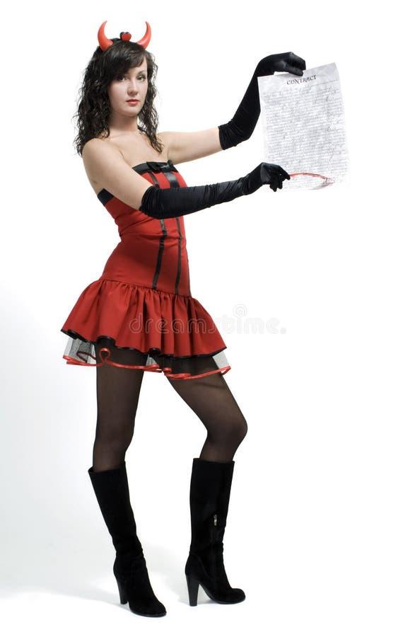 piękna kontraktacyjna czarcia dziewczyny pióra czerwień fotografia stock