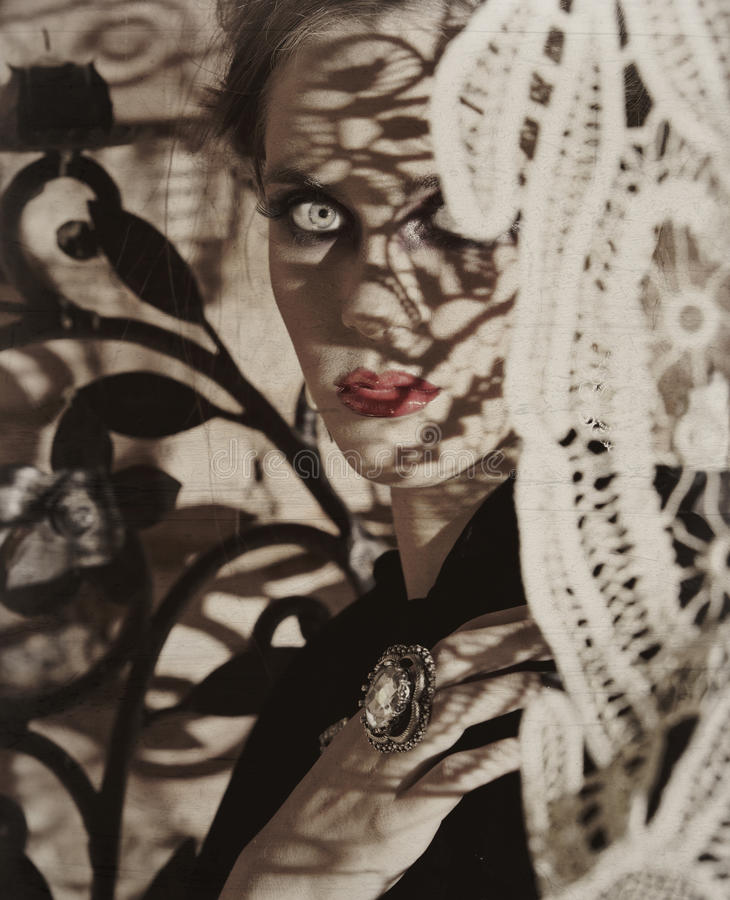 piękna koronka ocienia kobiety fotografia royalty free