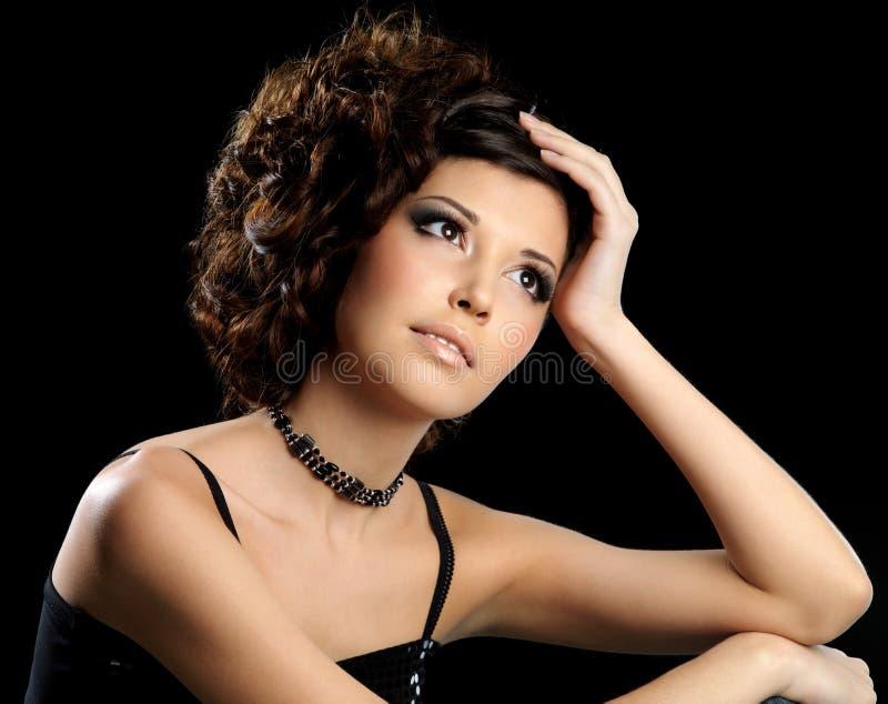 piękna kreatywnie mody fryzury kobieta fotografia royalty free