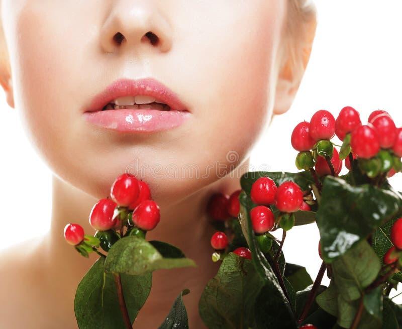 piękna kwiatów czerwieni kobieta fotografia royalty free