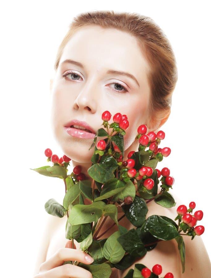 piękna kwiatów czerwieni kobieta zdjęcia royalty free