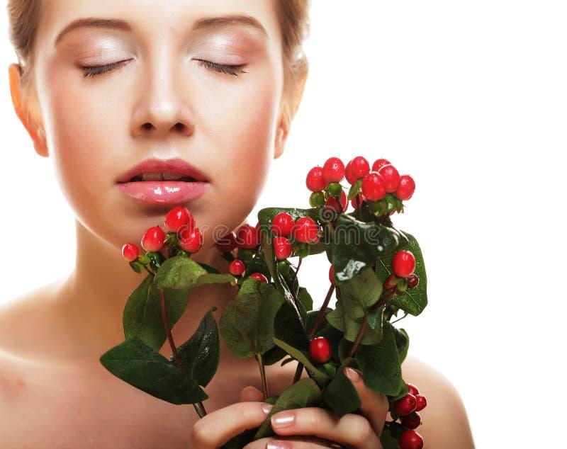 piękna kwiatów czerwieni kobieta obraz royalty free