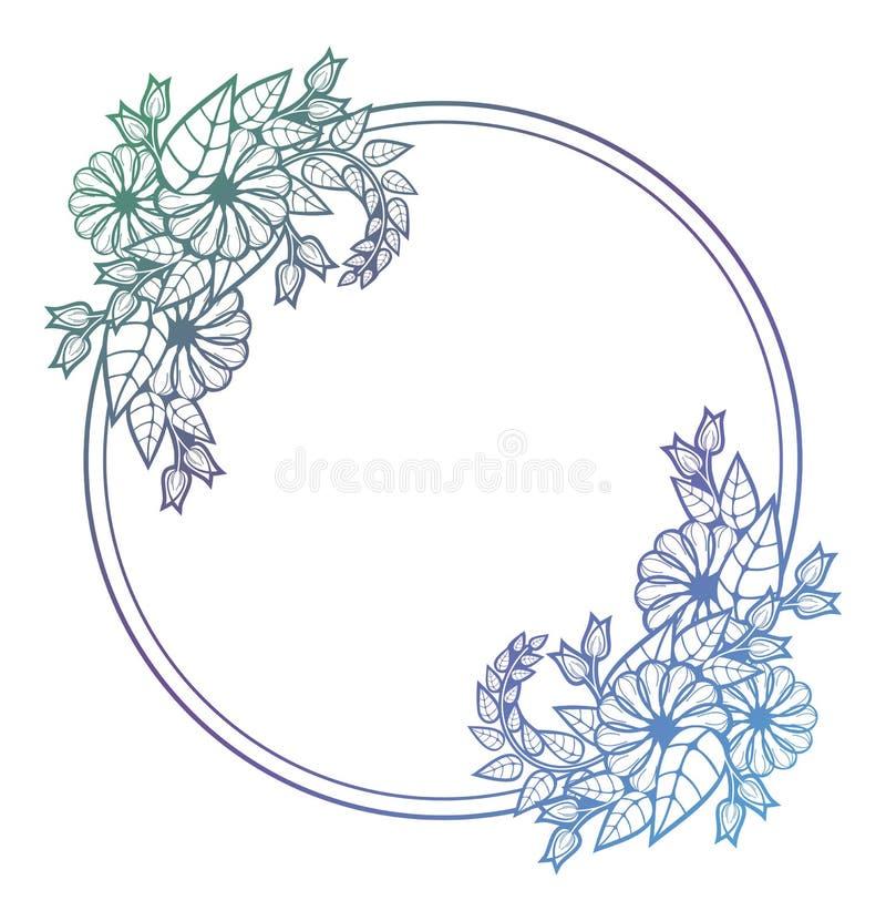 Piękna kwiecista rama z gradientową pełnią Kolor sylwetki fram ilustracji