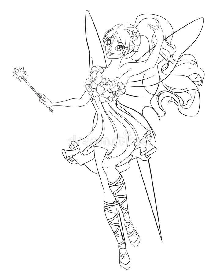 Piękna latająca czarodziejka z magiczną różdżką Kreskowej sztuki kolorystyki strony wektoru ilustracja ilustracja wektor