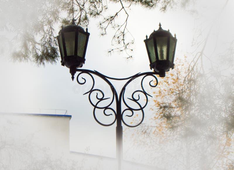 Piękna latarnia uliczna przeciw drzewom i niebu, dodający winiety światło ostrzy dla chmur i mgiełki zdjęcia stock