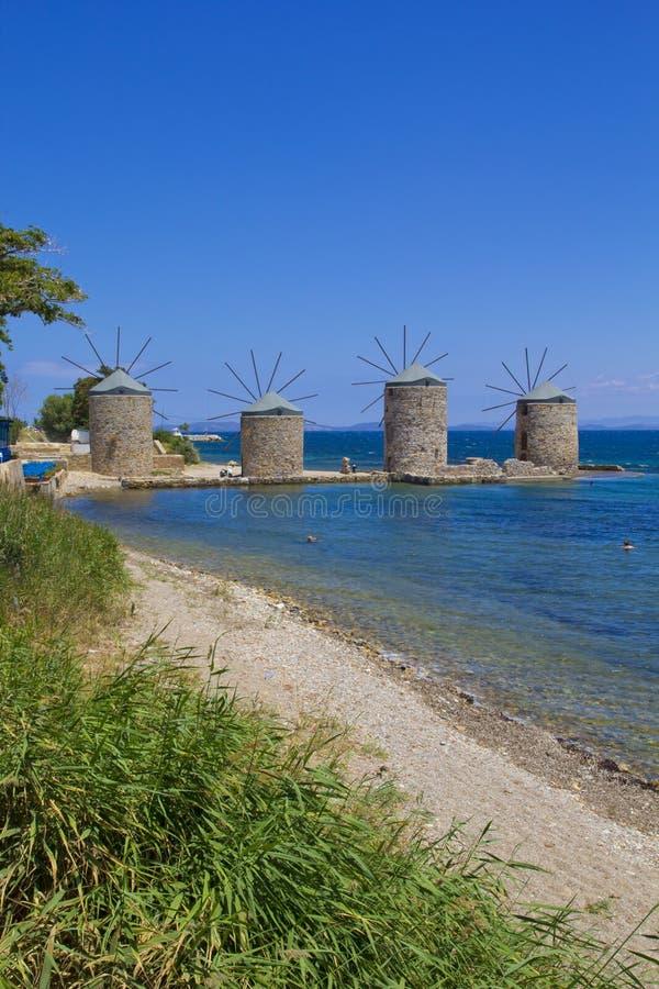 Piękna lato scena w Chios wyspie zdjęcia stock
