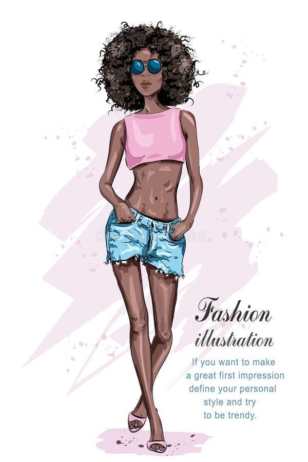 Piękna młoda amerykanin afrykańskiego pochodzenia kobieta z afro fryzurą ilustracji