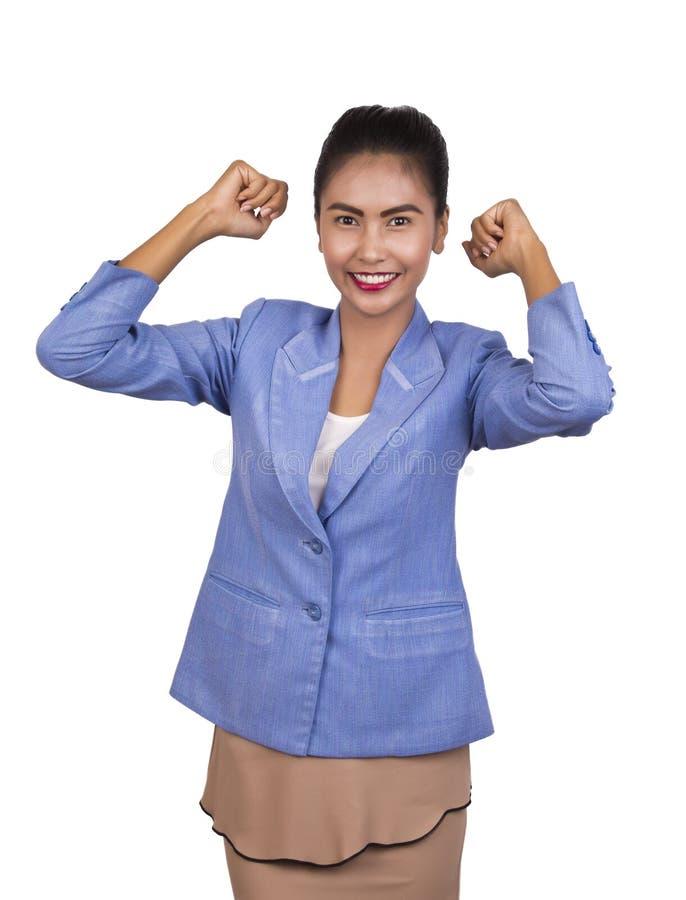 Piękna młoda Azjatycka biznesowa kobieta jest bardzo szczęśliwa. zdjęcia royalty free