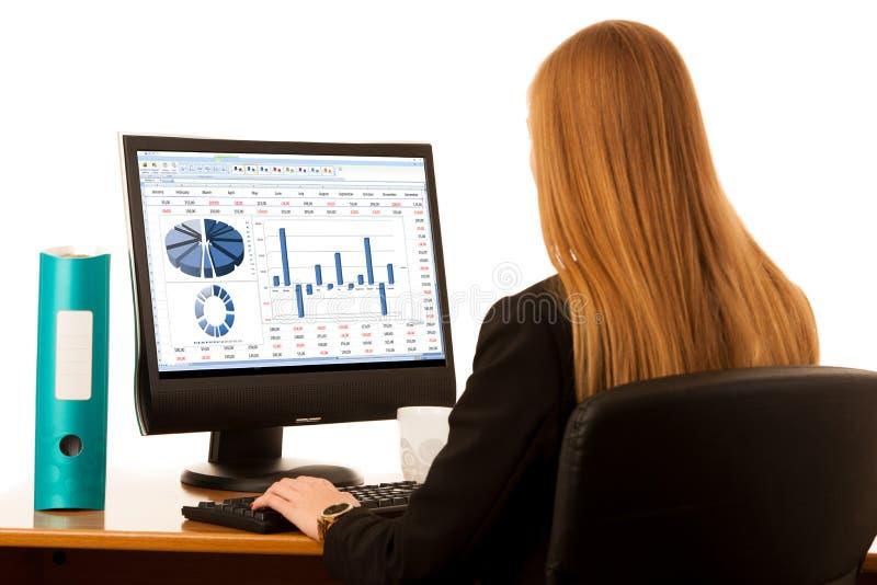 Piękna młoda biznesowa kobieta pracuje w biurze z dużym odbitkowym zdrojem zdjęcia stock