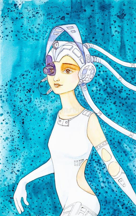 Piękna młoda cyber dziewczyna w ciasnych białej skóry ubraniach, będący ubranym hełm z hełmofonami i widokiem na abstrakta błękic royalty ilustracja