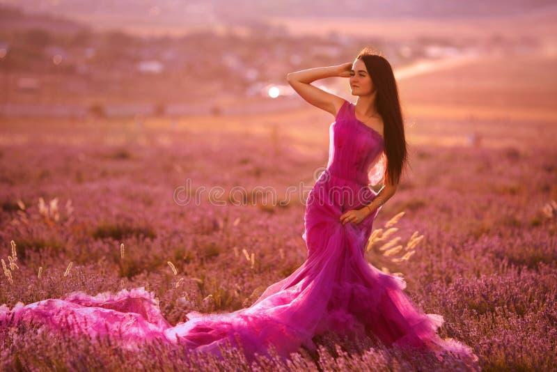 Piękna młoda dziewczyna chodzi w polu lawenda zdjęcie stock