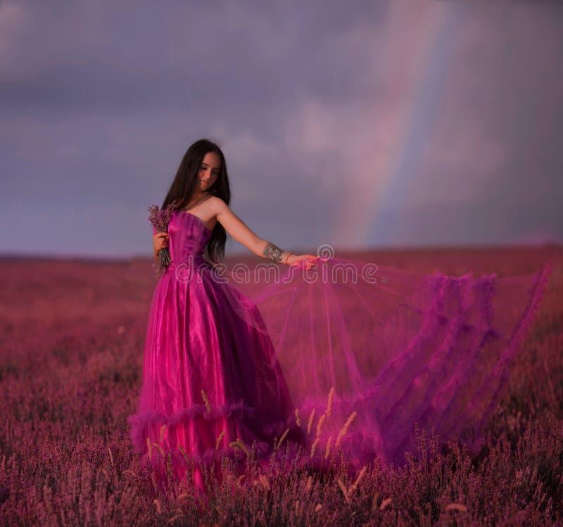 Piękna młoda dziewczyna chodzi w polu lawenda fotografia stock