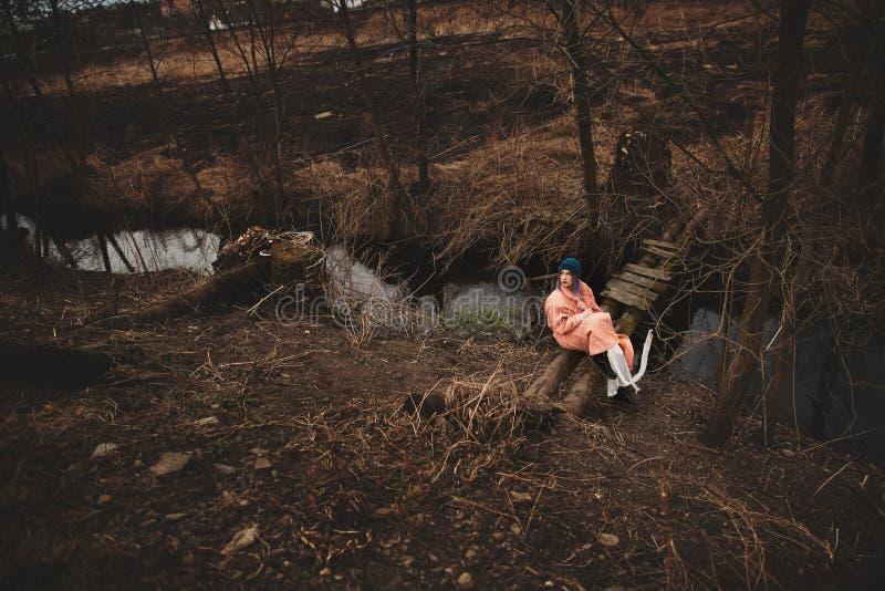 Piękna młoda dziewczyna jest odpoczynkowa, obsiadanie na małym drewnianym moście zdjęcie royalty free