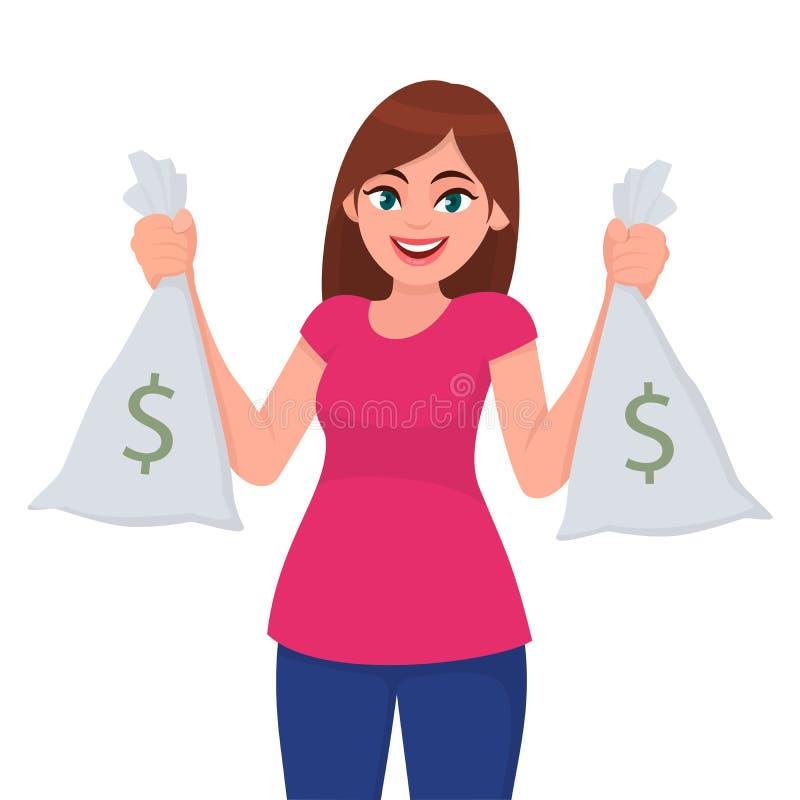Piękna młoda dziewczyna, mienie, pieniądze, gotówka lub waluta pokazywać, kobiety lub kobiety/, zauważamy torby z dolarowym znaki ilustracji