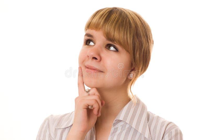 Piękna młoda dziewczyna myśleć fotografia royalty free