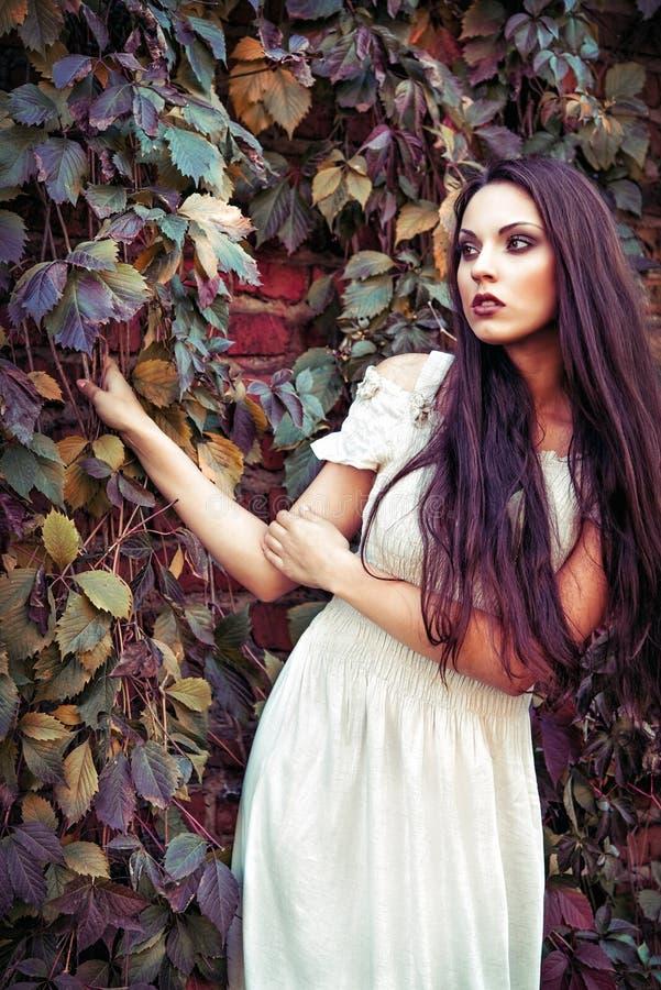Piękna młoda dziewczyna w biel sukni pozyci wśród kolorowych liści obraz stock