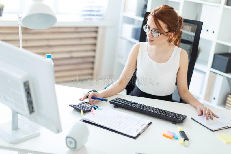 Piękna młoda dziewczyna w biurowym działaniu z dokumentami, kalkulatorem, notepad i komputerem, zdjęcie stock