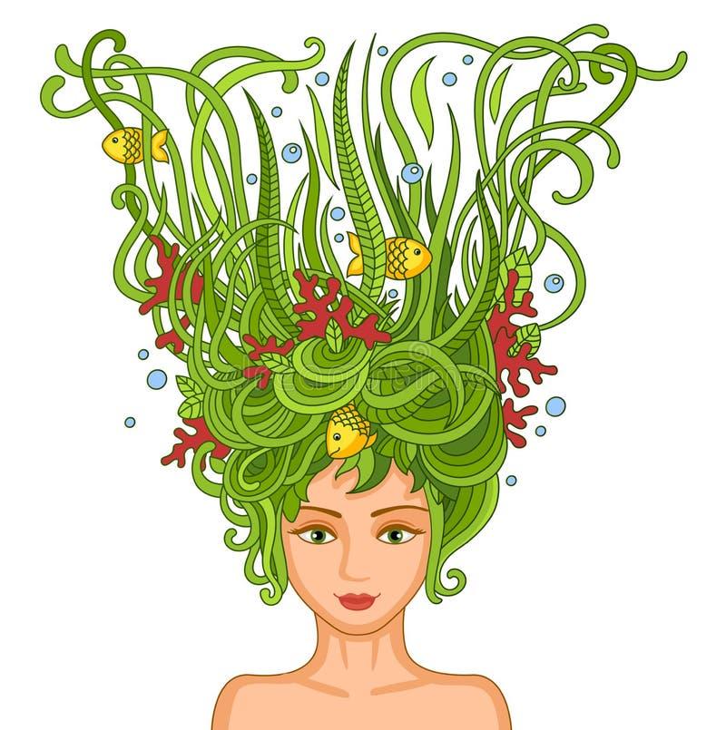 Piękna młoda dziewczyna z abstrakcjonistycznym falistym włosy royalty ilustracja