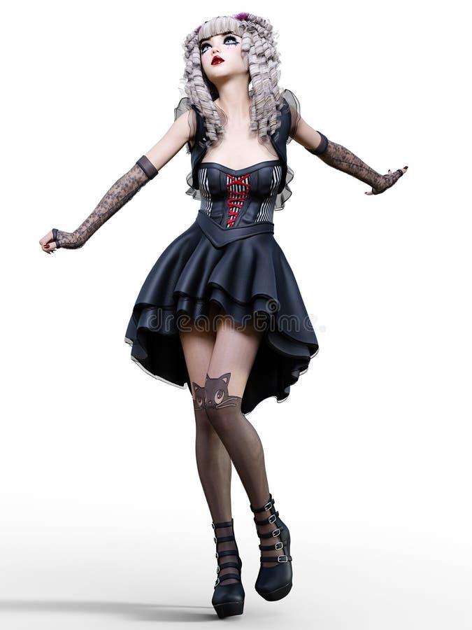 Piękna młoda goth kobieta ilustracja wektor