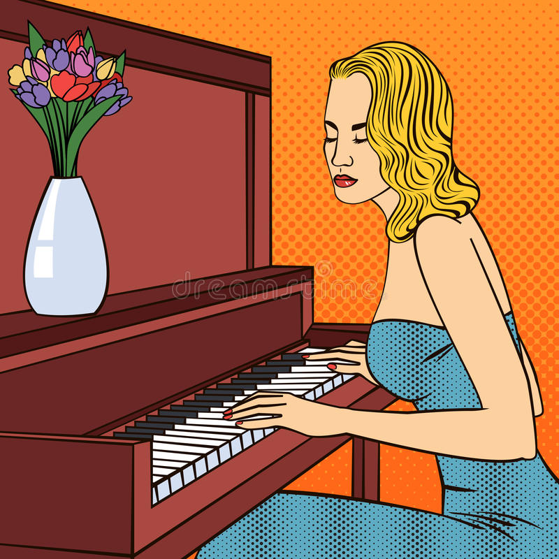 Piękna młoda kobieta Bawić się na pianinie Wystrzał sztuka ilustracja wektor